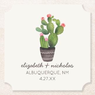 Pink Floral Cactus Paper Coaster