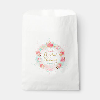 Pink Floral Cake Wreath Bridal Shower Favor Bags