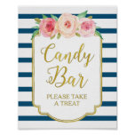 Pink Floral Candy Bar Sign Gold Navy Blue Stripes