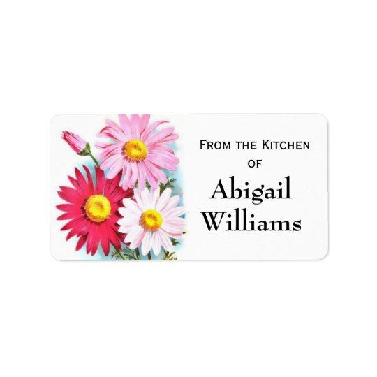 Pink Floral Canning Sticker Address Label