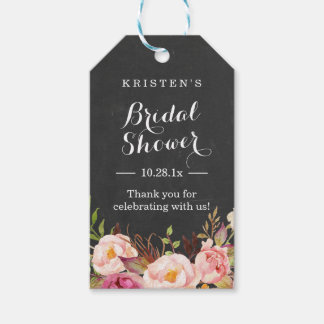 Pink Floral Chalkboard | Bridal Shower Thank You Gift Tags