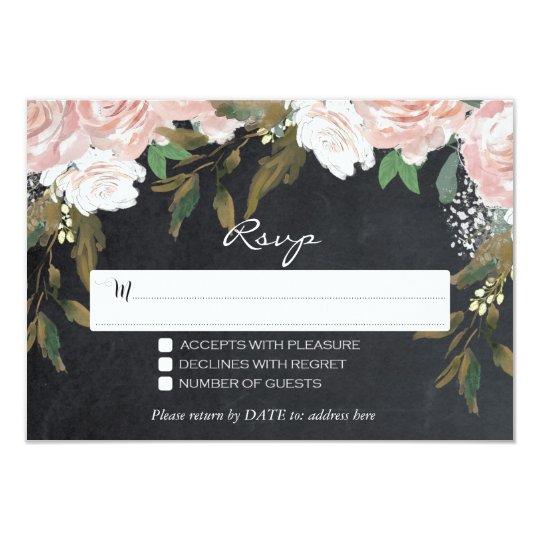 pink floral chalkboard wedding RSVP details card
