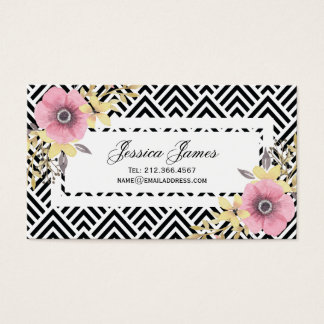 Pink Floral Chevron Spring Blossoms