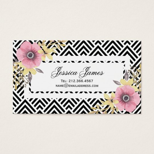 Pink Floral Chevron Spring Blossoms Business Card