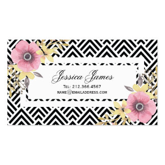 Pink Floral Chevron Spring Blossoms Pack Of Standard Business Cards