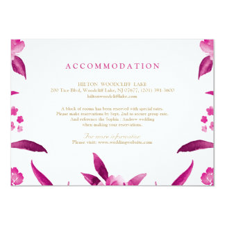 Pink floral Chinoiserie Wedding accommodation Card