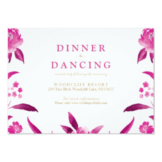 Pink floral Chinoiserie Wedding reception Card