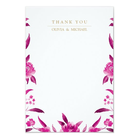 Pink floral Chinoiserie Wedding thank you Card