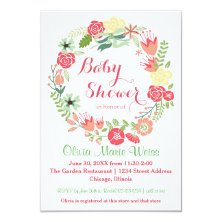 Pink Floral Circle Wreath - 3x5 Baby Shower Invite
