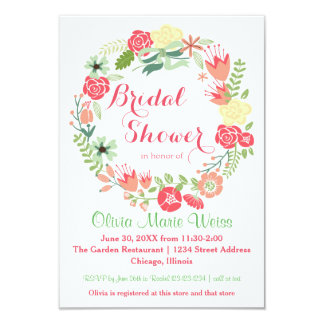 Pink Floral Circle Wreath-3x5 Bridal Shower Invite