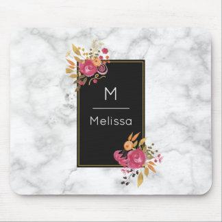 Pink Floral Corner Bouquets on Black Frame Custom Mouse Mat