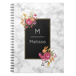 Pink Floral Corner Bouquets on Black Frame Custom Notebooks