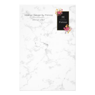 Pink Floral Corner Bouquets on Black Frame Stationery