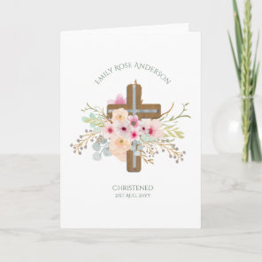 Pink Floral Cross Bouquet Girl Baptism Christening Card