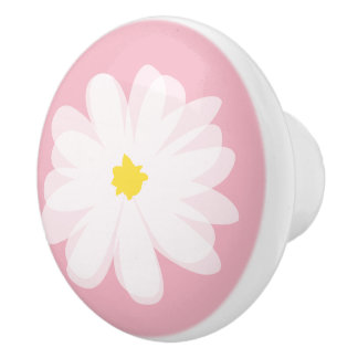Pink floral daisy flower door and drawer pull knob