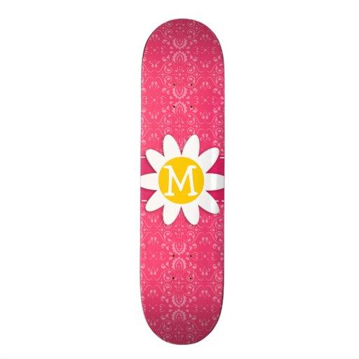 Pink Floral; Daisy Custom Skate Board