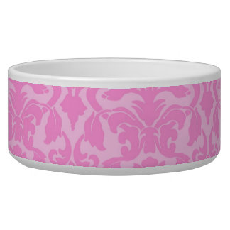 Pink Floral Damask Dog Bowl