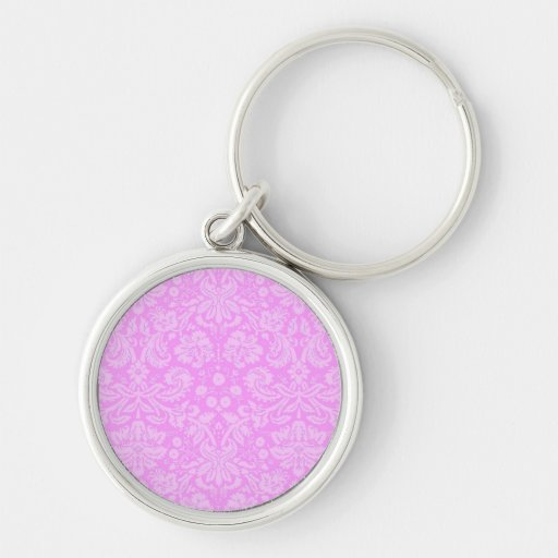 Pink Floral Damask Keychain
