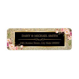 Pink Floral Decor | Golden Glitter Sparkles Return Address Label