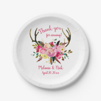Pink floral deer antlers bridal shower decor paper plate