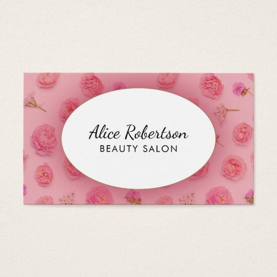 Pink floral design business card