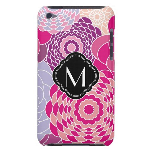 Pink Floral Design Modern Abstract Flowers Barely There iPod Cases
