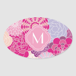 Pink Floral Design Modern Abstract Flowers Oval Sticker