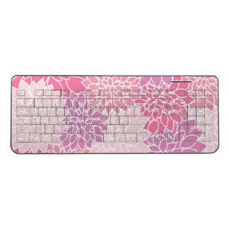 Pink, Floral Design Wireless Keyboard