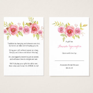 Pink Floral Display Bridal Shower request tag 3605