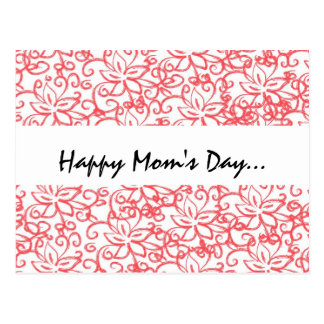 Pink Floral Drawing Mom s Day Postcard