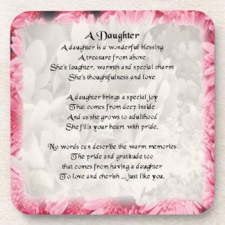Pink Floral Edge - daughter Poem coaster