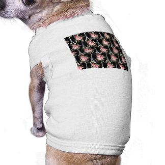 Pink Floral Eiffel Tower on Black Dog T-shirt