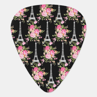 Pink Floral Eiffel Tower on Black Guitar Pick