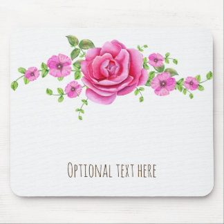 Pink Floral Elegant Shabby Chic Look Mouse Pad