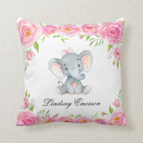 Pink Floral Elephant Baby Nursery Throw Pillow