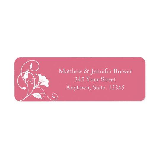 Pink Floral Envelope Return Address Labels