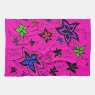 Pink floral fantasy tea towel