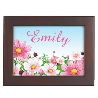 Pink Floral Flower Garden Spring Summer Baby Girl Keepsake Box