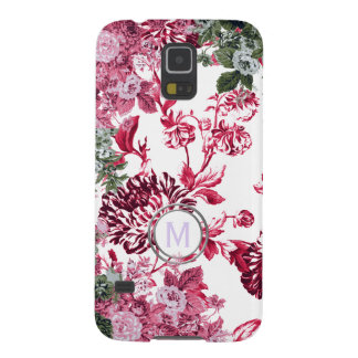 Pink Floral Garden Monogram Case For Galaxy S5