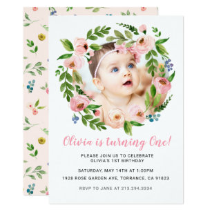 Pink Floral Girl 1st Birthday Invitations