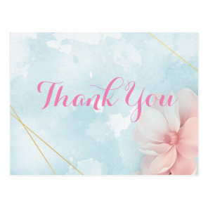 Pink floral gold frame blue watercolor thank you postcard