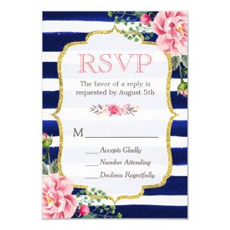 Pink Floral Gold Glitter Navy Blue Striped RSVP Card