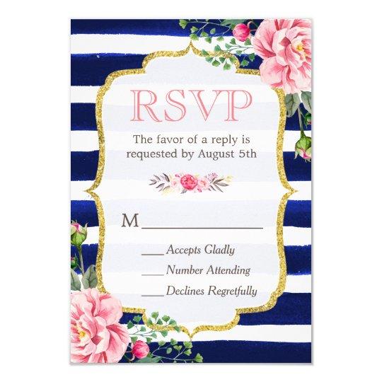 Pink Floral Gold Glitter Navy Blue Striped RSVP