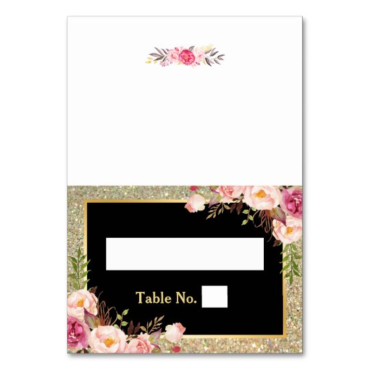 Pink Floral Gold Glitter Stripes Wedding Place Table