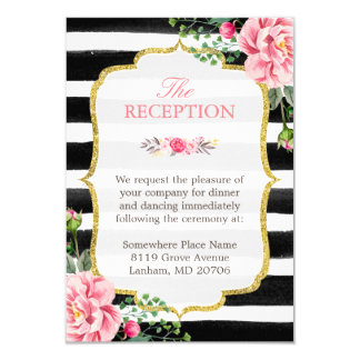 Pink Floral Gold Glitter Stripes Wedding Reception Card