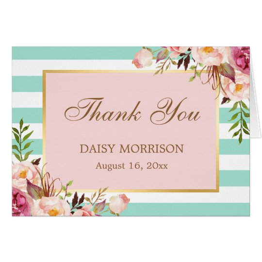 Pink Floral Gold Mint Green Stripes Thank You Card