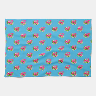 Pink Floral Graphic Pattern Blue Background Tea Towels