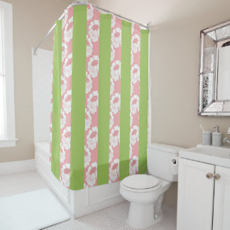 Pink Floral, Green Stripes Shower Curtain