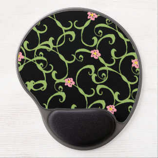 Pink Floral Green Vines Gel Mouse Pad
