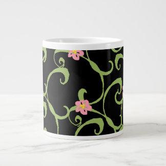 Pink Floral Green Vines Jumbo Mug